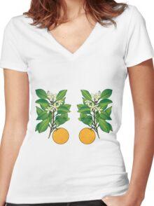 Orange Blossoms Women's Fitted V-Neck T-Shirt