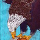 Eagle eating a vole by Hilary Robinson