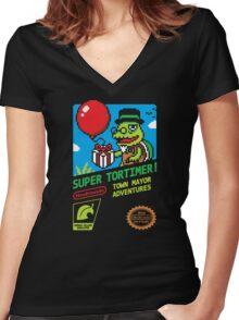 SUPER TORTIMER! Women's Fitted V-Neck T-Shirt