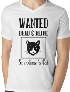 Wanted schrodingers cat geek funny nerd Mens V-Neck T-Shirt