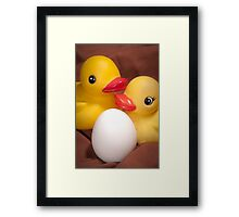 """""""EGGspecting"""" - rubber duckies couple expecting Framed Print"""
