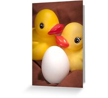 """""""EGGspecting"""" - rubber duckies couple expecting Greeting Card"""