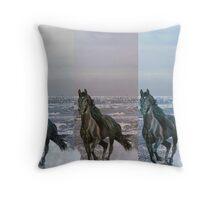 """3-Horses - Digital Manipulation"" Throw Pillow"