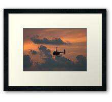 Helicopter at Sunset Framed Print