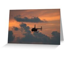 Helicopter at Sunset Greeting Card