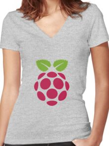 Raspberry Fan [HD] Women's Fitted V-Neck T-Shirt