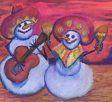 Southwestern Snowmen Mariachis by Candace Byington