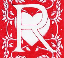 Red Heart Letter R by Donna Huntriss