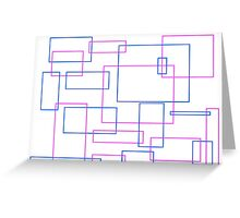 Pink & Blue Rectangle Pattern Greeting Card