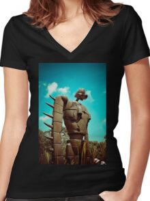 Castle in the Sky's Soldier Women's Fitted V-Neck T-Shirt