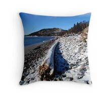 Frozen Pebble Beach on Lake Superior - Marthon Ontario Canada Throw Pillow