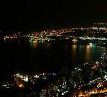 Nighttime coastline near Beirut, Lebanon by sccaldwell