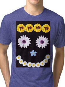 Smilley flower face Tri-blend T-Shirt
