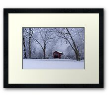 Snow Adorns The John Burrows Covered Bridge Framed Print