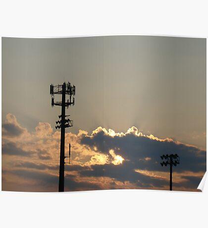Sunset Over the Baseball Diamond Poster