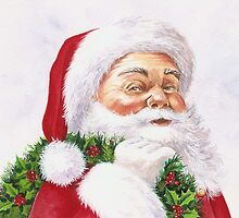 Santa with a holly wreath by lizblackdowding