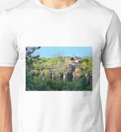 Suspension bridge at Rolfs place, near Masai Logde, Nairobi Unisex T-Shirt