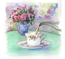 Watercolour - afternoon tea Photographic Print
