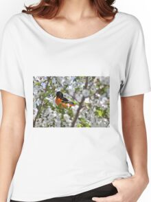 Baltimore oriole in cherry tree Women's Relaxed Fit T-Shirt