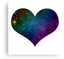 Galaxy Rainbow Heart Canvas Print
