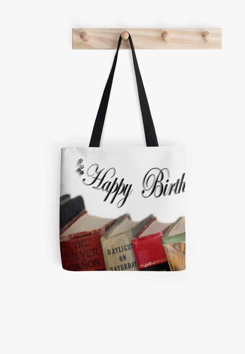 Quot happy birthday older card old fashioned books tote