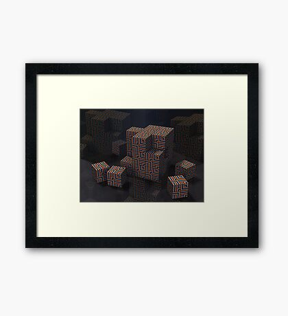 Maze Cube Puzzle Framed Print
