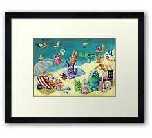 Monster Summer Time on the Beach Framed Print