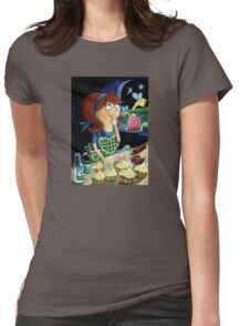Little Girl's Kitchen and cute flying monsters Womens Fitted T-Shirt