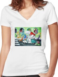 Scooter rally - Yeti and Co. Women's Fitted V-Neck T-Shirt
