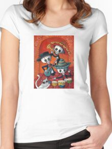 Dia de Los Muertos Skeleton Musicans Women's Fitted Scoop T-Shirt