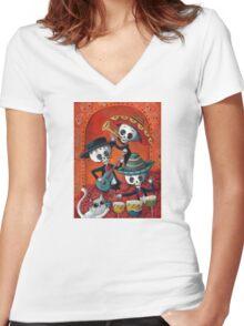 Dia de Los Muertos Skeleton Musicans Women's Fitted V-Neck T-Shirt