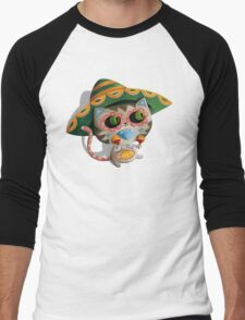 Mexican Dia de Los Muertos Cat Men's Baseball ¾ T-Shirt