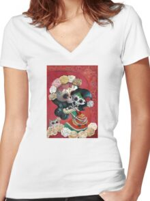 Mexican Skeletons Mother and Daughter Women's Fitted V-Neck T-Shirt