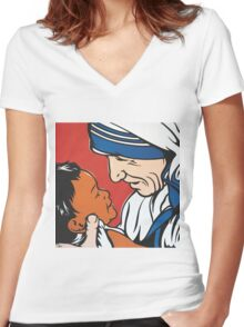 Mother Teresa and Child Women's Fitted V-Neck T-Shirt