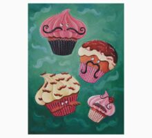 Flying Mustached Cupcakes Kids Tee