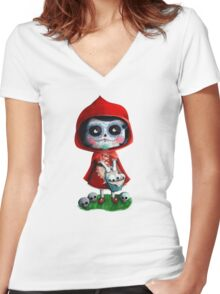 Dead Red Riding Hood Women's Fitted V-Neck T-Shirt