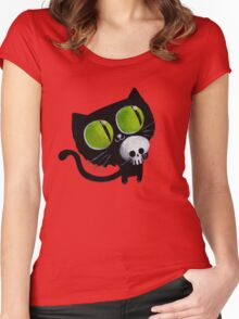 Black Halloween Cat with Skull Women's Fitted Scoop T-Shirt