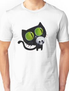 Black Halloween Cat with Skull Unisex T-Shirt