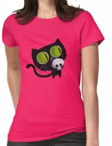 Black Halloween Cat with Skull Womens Fitted T-Shirt