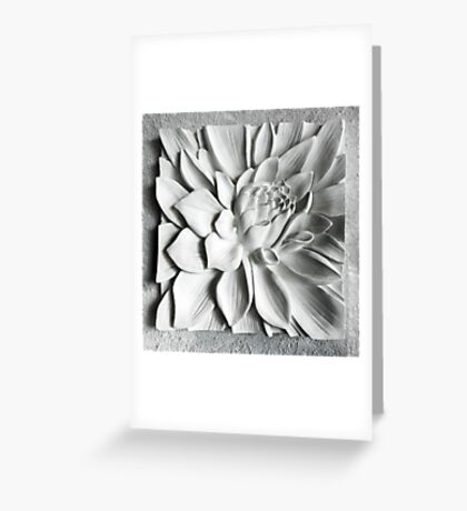 White Floral Sculpture Greeting Card