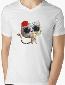 White Cat of The Dead Mens V-Neck T-Shirt