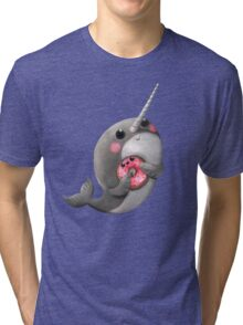 Cute Narwhal with donut Tri-blend T-Shirt