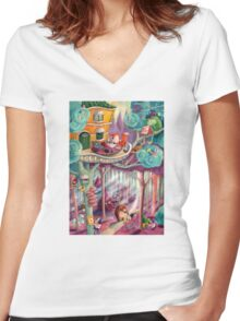 Magical Forest Women's Fitted V-Neck T-Shirt