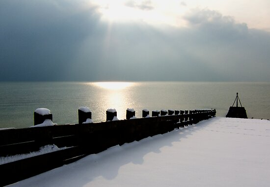 Snow covered Jetty by DJ-Stotty