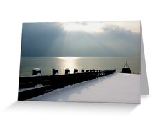 Snow covered Jetty Greeting Card