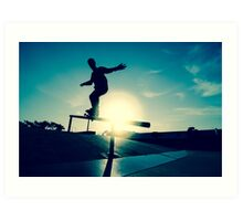Skateboarder silhouette on a grind Art Print