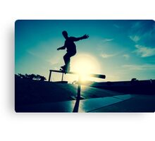 Skateboarder silhouette on a grind Canvas Print