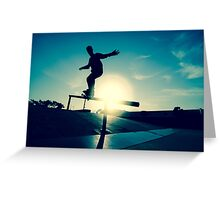 Skateboarder silhouette on a grind Greeting Card