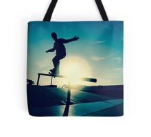 Skateboarder silhouette on a grind Tote Bag