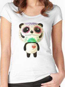 El Dia de Los Muertos Panda Women's Fitted Scoop T-Shirt